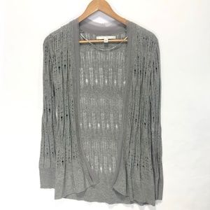 Gray Open Front Pointelle Knit Cardigan XS